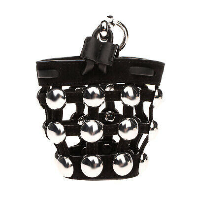 AU41.40 • Buy RRP €505 ALEXANDER WANG ROXY Leather Cage Bucket Bag Charm HANDCRAFTED Studded