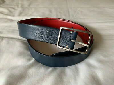 £0.99 • Buy Paul Smith Mens Reversible Leather Belt, Size 34 Waist, BLUE AND RED Used
