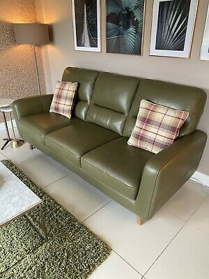£500 • Buy Sage Green Leather 4 Seater Sofa And Statement Chair RRP £3300