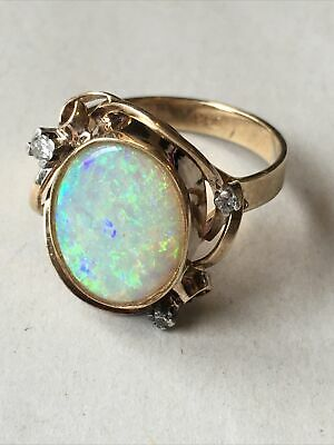 £229 • Buy 9ct 375 9K Stunning Opal Gold Vintage Ring With Real Diamonds Size O1/2 Boxed