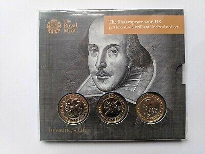 £22.05 • Buy 2016 Royal Mint 3 X £2 Coin Pack BU. William Shakespeare.