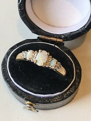 £129 • Buy 9ct 375 9K Gold Stunning Real Opal & Diamond Ring  Size Q Boxed
