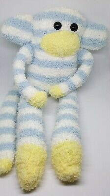 £6.99 • Buy Sock Monkey Blue Bell Birthday Gift Hand Made Soft Toy Blue And White Stripes