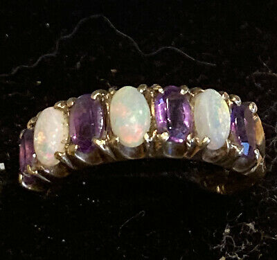 £130 • Buy Stunning 9ct Gold Amethyst & Opal Ring, Size O, 2.5g Hallmarked, Lovely Opals!