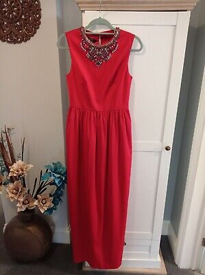 £25 • Buy STUNNING TED BAKER RED 'Neliosa' JEWELLED NECKLINE FULL LENGTH GOWN SIZE 10
