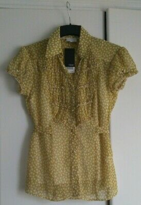 £3.50 • Buy BNWT Next Mustard Yellow Autumn  Blouse Top With Detachable Cami Size 10