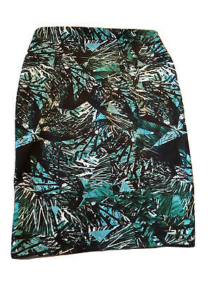 £6.99 • Buy MS 14 Skirt Green Tropical Floral Mix Straight Pencil Midi  M&S Marks & Spencer