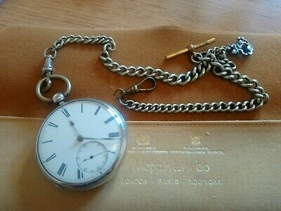 £59.95 • Buy Antique Victorian Solid Silver Fusee LONDON Pocket Watch With Chain, Fob