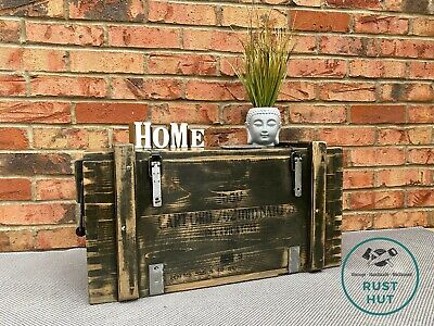 £85 • Buy Wooden Ammo Box Vintage Rustic Storage Chest Industrial Trunk Coffee Table