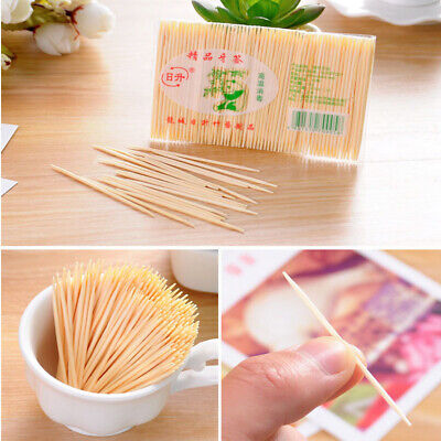 £3.69 • Buy 500pc Two Heads Wooden Stick Bar Bamboo Toothpick Cocktail Snacks Food Picks