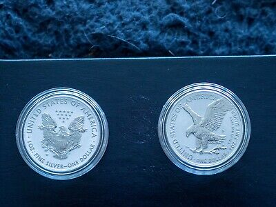£200 • Buy American Eagle 2021 One Ounce Silver Reverse Proof Two-Coin Set Designer Edition