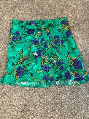 £5.99 • Buy Gorgeous River Island Green Floral Wrap Summer Skirt Size 14