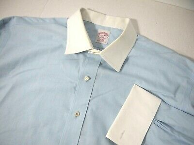 £18.11 • Buy Brooks Brothers 346 Mens Dress Shirt 17 1/2 33 Blue White Collar Cuffs French