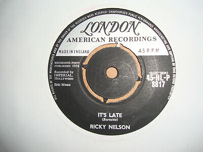 £2.99 • Buy Ricky Nelson,  Its Late,  London Records 1958 Ex