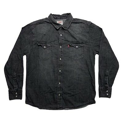 £21.98 • Buy Levis Black Denim Pearl Snap Western Shirt Large Red Tab Long Sleeve Button Up