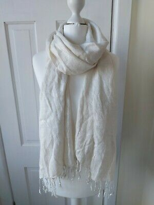 £0.99 • Buy Ladies Cream And Silver Scarf From Primark