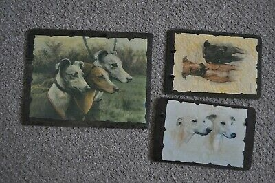 £14.95 • Buy 3 X Greyhound Slate Decoupage Wall Hanging Pictures Whippet/lurcher Dog Handmade