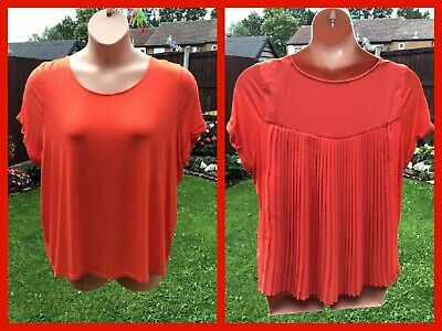 £3.99 • Buy Ladies M&S Collection Orange Pleated Rear Short Sleeved Blouse Top UK 20