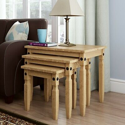 £44.99 • Buy Corona Pine Nest Of Tables Set Of 3 Occasional Coffee Side Table Waxed Mexican