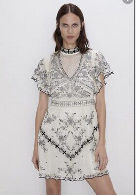 £12 • Buy ZARA Limited Edition RARE Embroidered & Bead Lace Short Dress SIZE SMALL