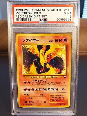 $40 • Buy 1998 Pokemon Japanese Moltres Holo Red Green Gift Quick Starter PSA 9 MINT! #146