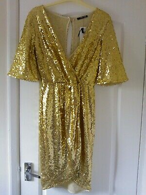£40 • Buy ** Bnwt ** Sparkly Gold Sequined V-neck Party Dress, Fully Lined Size 10