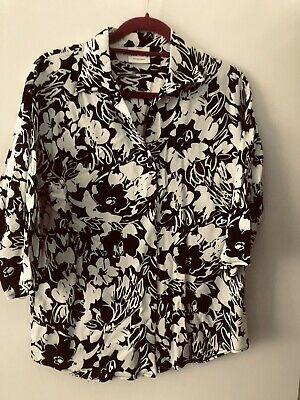 £3.50 • Buy Pleated Black And White Blouse Size 14 Worn Once By John Harvey