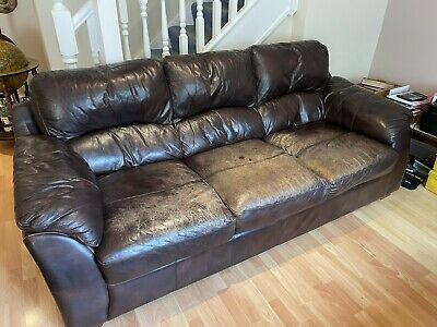 £0.01 • Buy Secondhand Dark Brown Leather Sofas (Three And Two Seater) - Fire Safety Labels