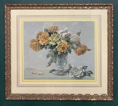 £1.29 • Buy Large Mid Century Impressionist French Floral Gouache Painting, Signed