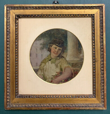 £1.20 • Buy Antique 19th Century French Oil On Board Painting Portrait Of A Lady