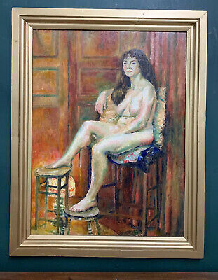 £1.04 • Buy Large Mid Century Modernist Nude Portrait Of A Lady Oil On Board Painting