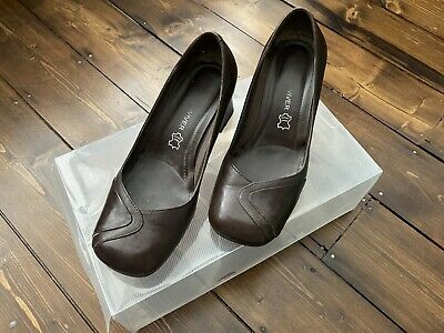 £1 • Buy Next Sole Reviver Brown Leather Court High Heeled Heels Shoes Size 3