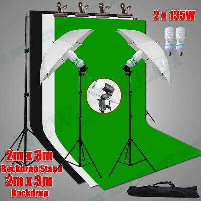 AU98.98 • Buy Photo Studio Umbrella Lighting Continuous Light Stand Kit+2x3m Backdrops Support