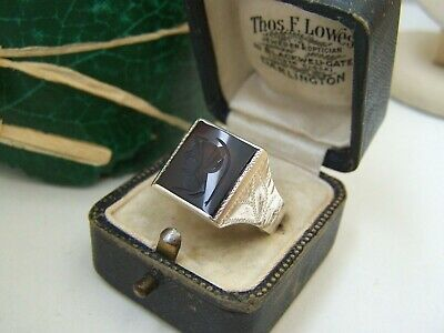 £99.99 • Buy Superb Vintage Solid Sterling Silver Onyx Intaglio Signet Ring Size X 11.5 Heavy