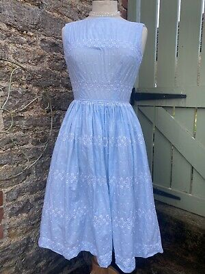 £14.99 • Buy Vintage Dress 1950's Style Pale Blue Net Underskirt White Embroidery