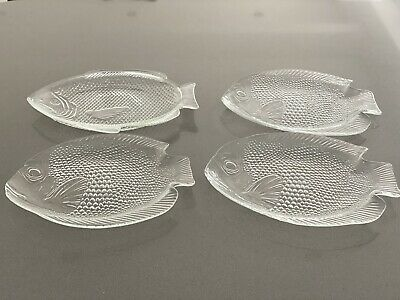 £2.80 • Buy Vintage French Arcoroc Clear Glass Fish Serving Plates  X 4 - VGC