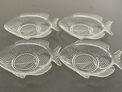 £4.70 • Buy Vintage Mid Century French Arcoroc 4x Small Glass Fish Shaped Side Plates
