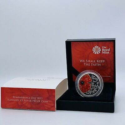 £0.99 • Buy SCARCE 2013 RM Silver Proof Alderney Remembrance Day £5 Five Pounds Poppy Coin