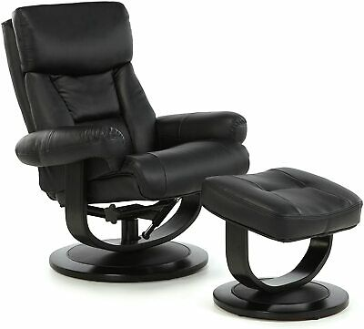 £300 • Buy Risor Bonded Leather Recliner Swivel Chair And Stool - Black