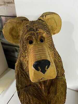 £175 • Buy Chainsaw Carved Bear Sitting Bear Carved Wooden  Bear Carvings