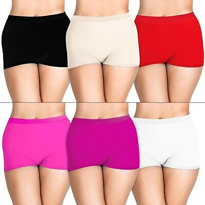 £7.98 • Buy Pack Of 3 Womens Ladies Plain Underwear High Waist Stretch Boxer Shorts Lot New