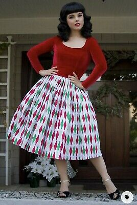 AU229.93 • Buy Pinup Girl Clothing Couture Genevieve Jenny Dress In Holiday Harlequin Print L