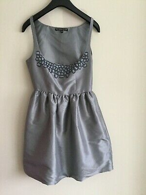 £10.99 • Buy KATE MOSS For TOPSHOP Silver Metallic Mini Dress Embellished Neck Size 8