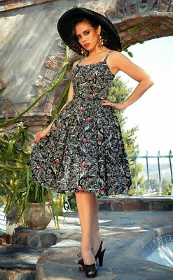 AU143.48 • Buy Pinup Girl Clothing Couture PUG Laura Byrnes Jenny Dress In Spanish Fans Large