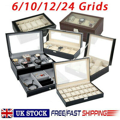 £14.99 • Buy Leather Watch Case Display Box Storage Jewellery Glass Holder Collection Storage