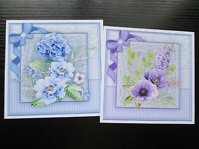 £1.25 • Buy  NEW === 2 X FLOWER BOUQUET IN BLUE & LILAC   Card Toppers & Sentiments