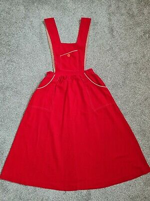 £59.99 • Buy Young Edwardian By Arpeja Vintage 70's Red Corduroy Pinafore Midi Dress S Approx