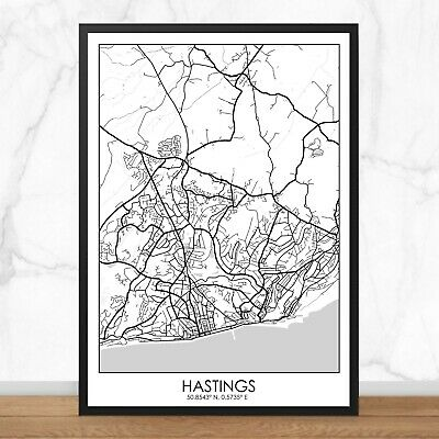 £5 • Buy HASTINGS - City Map Print Poster - Black & White - A3/A4/A5