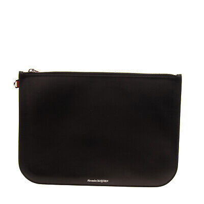 AU103.85 • Buy RRP €400 ALEXANDER McQUEEN Leather Clutch Bag Large Zip Closure Made In Italy