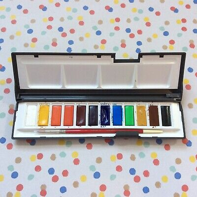 £9.99 • Buy Daler-Rowney Aquafine Watercolour Whole Pan Set And Paint Brush - Used Once